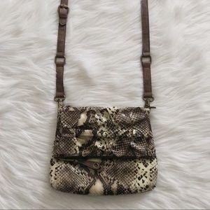 JESSICA SIMPSON Snakeskin Fold Over Crossbody Bag